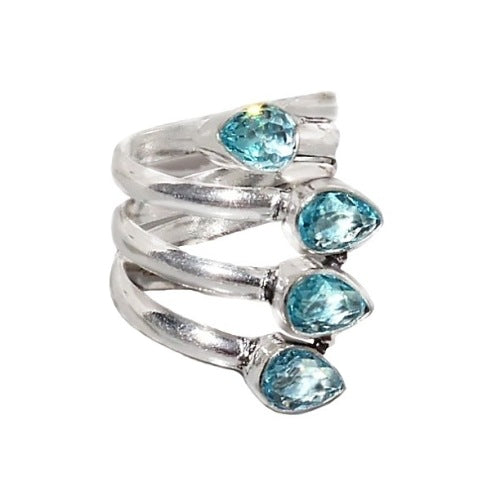 Faceted Blue Topaz pears Gemstone Solid .925 Silver Ring Size 8 - BELLADONNA