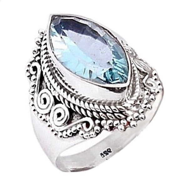 Natural Blue Topaz Gemstone Solid .925 Silver Ring Size 8 - BELLADONNA