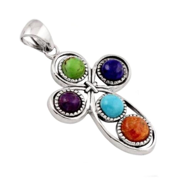Natural  Arizona Turquoise Solid .925 Sterling Silver Cross Pendant - BELLADONNA