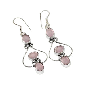 Feminine Pink Chalcedony, Pink Quartz .925 Silver Earrings - BELLADONNA