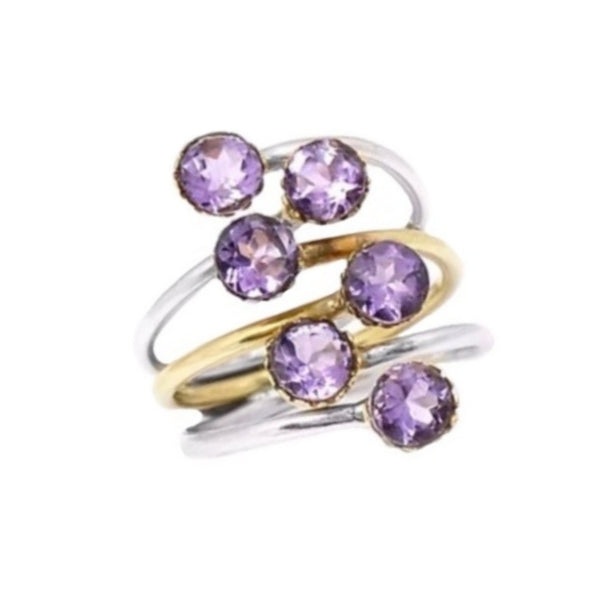 Natural Purple Amethyst Solid .925 Silver Ring Size 10 - BELLADONNA