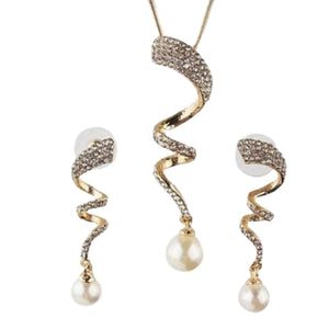 Party Wedding Engagement Modern Austrian Crystals Pearl Gold Necklace And Earrings Set - BELLADONNA