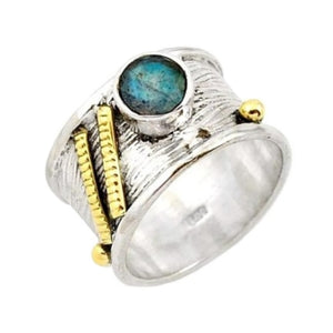 Natural Canadian Blue Labradorite Solid .925 Sterling Silver Ring Size 8 - BELLADONNA