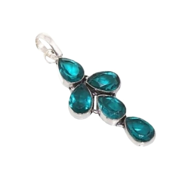 Faceted Teal Green Apatite Pears Gemstone .925 Silver Pendant - BELLADONNA