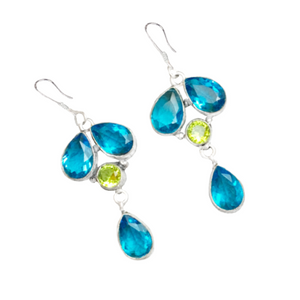 Paris Blue Topaz, Peridot Gemstone .925 Sterling Silver Earrings - BELLADONNA