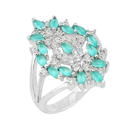 Natural Aqua Chalcedony , White Topaz Gemstone Solid .925 Silver Ring Size US 8 - BELLADONNA