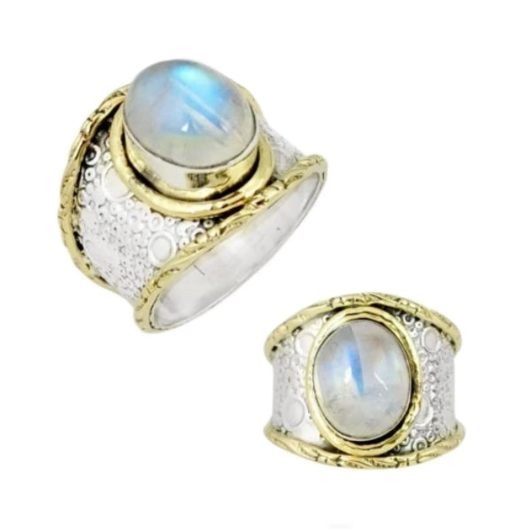 4.04 Cts Natural Rainbow Moonstone Solid .925 Silver Ring Size 7.5 - BELLADONNA