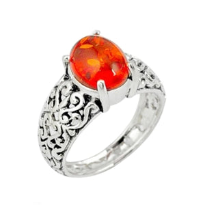 Stunning Detail 2.02 cts Natural Amber Gemstone In .925 Sterling Silver Ring Size 7 - BELLADONNA