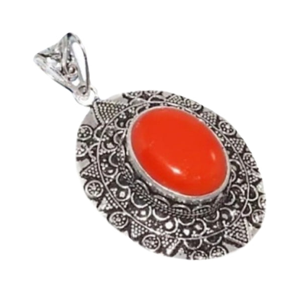 Antique Style Red Coral Gemstone Silver Pendant - BELLADONNA