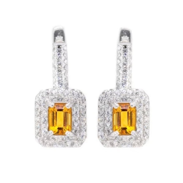 28.75 cts Natural Citrine, White Cubic Zirconia .925 Sterling Silver Earrings - BELLADONNA