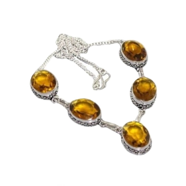 Pretty Detail Faceted Citrine Oval Gemstones .925 Silver Necklace - BELLADONNA
