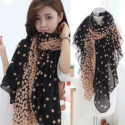 Two Tone Black and Camel Brown With Dot Motif Scarf Wrap - BELLADONNA