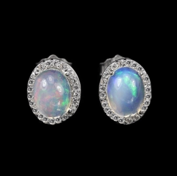 Captivating 8 x 6 mm Natural Unheated Rainbow White Fire Opal  Solid .925 Silver Earrings - BELLADONNA