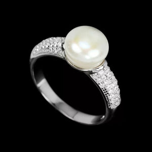 Natural Unheated White Pearl, White Cz Solid .925 Silver Size 8 - BELLADONNA