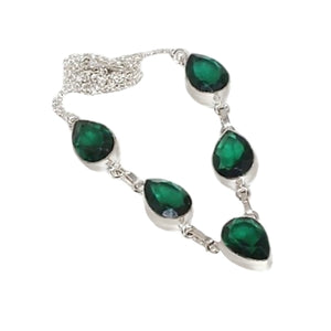 Emerald Quartz Pear Gemstone 925 Silver Necklace - BELLADONNA