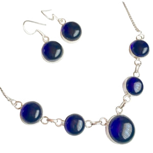 Dainty Sapphire Blue Quartz Gemstone .925 Silver Necklace and Earrings Set - BELLADONNA