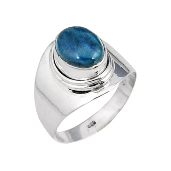 Genuine 4.16 ct Natural Blue Apatite Gemstone Solid .925 Sterling Silver Ring Size 8 - BELLADONNA