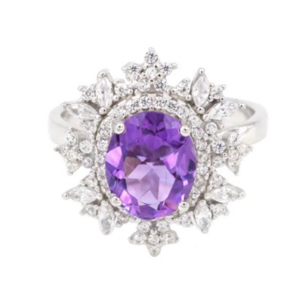Brazilian AAA Natural Purple Amethyst, White Cz Solid .925 Silver Ring Size 7 - BELLADONNA