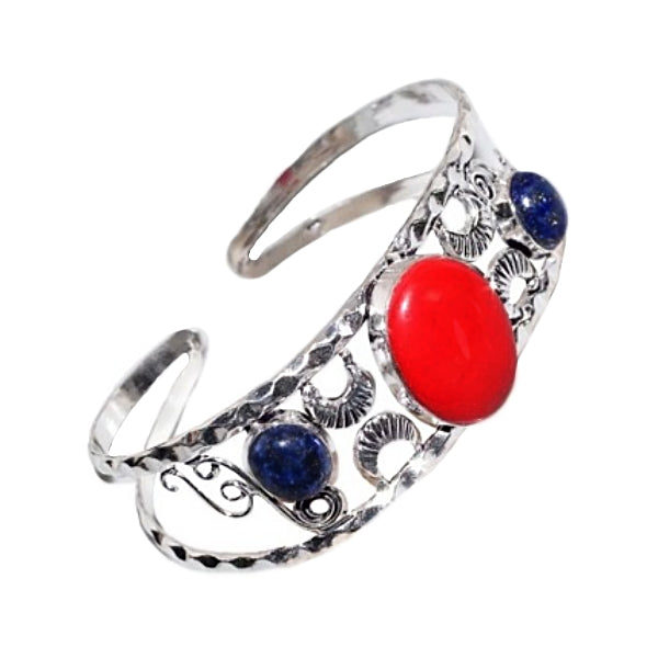 Vibrant Red Coral, Lapis Lazuli Gemstone Silver Bangle - BELLADONNA