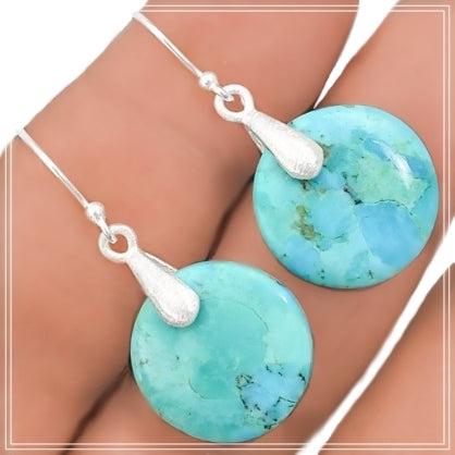 Natural  Blue Mohave Turquoise Gemstone .925 Sterling Silver Earrings - BELLADONNA