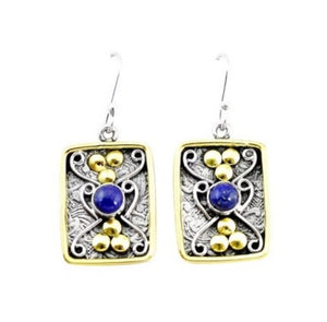 Victorian Two Tone Natural Lapis Lazuli Gemstone Solid .925 Silver Earrings - BELLADONNA