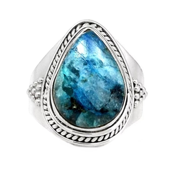 Natural Lightning Azurite With Quartz Gemstone Solid .925 Silver Fine Ring Size US 8 - BELLADONNA