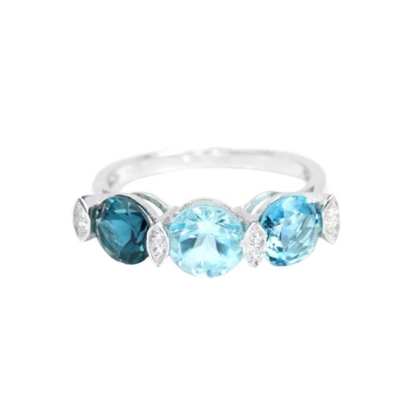 Natural Sky, Swiss and London Topaz, White CZ Gemstone Solid .925 Silver Size 7 - BELLADONNA
