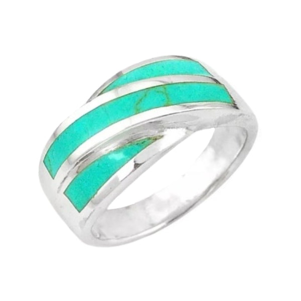 Modern Natural Turquoise, Gemstone Solid .925 Silver Ring Size 8 - BELLADONNA