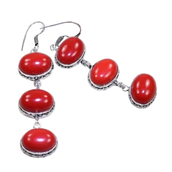 Lovely Long Red Coral Oval Gemstone .925 Silver Earrings - BELLADONNA