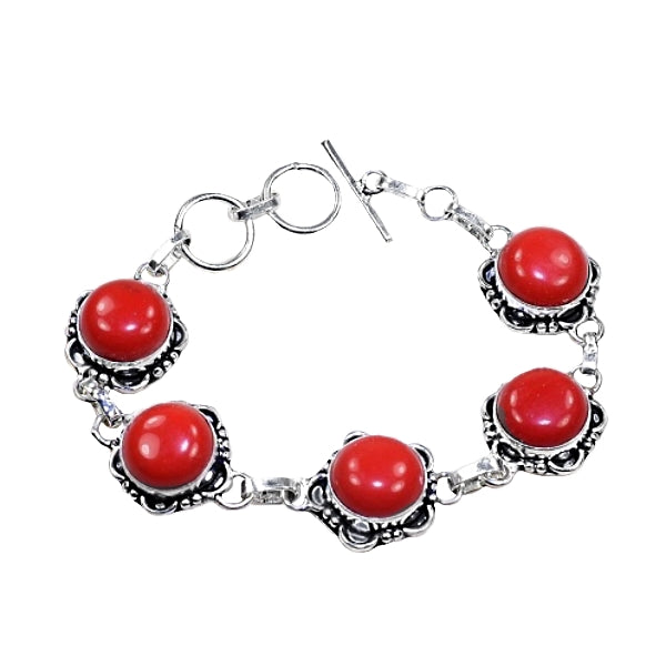 Beautiful Red Coral Gemstone .925 Silver Bracelet - BELLADONNA