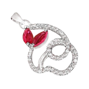 Dazzling Red Ruby & White Topaz .925 Solid Sterling Silver Pendant - BELLADONNA