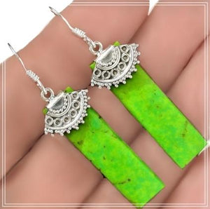 Natural Australian Green Gaspeite Earrings Solid .925 Sterling Silver - BELLADONNA