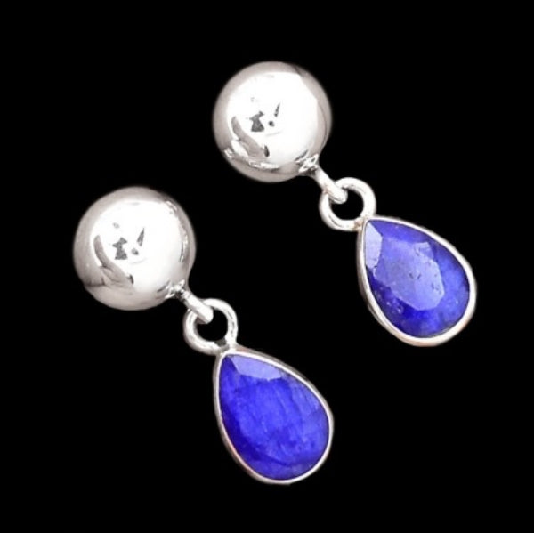 Incredible Faceted Blue Sapphire Gemstone Solid .925 Sterling Silver Stud Earrings - BELLADONNA