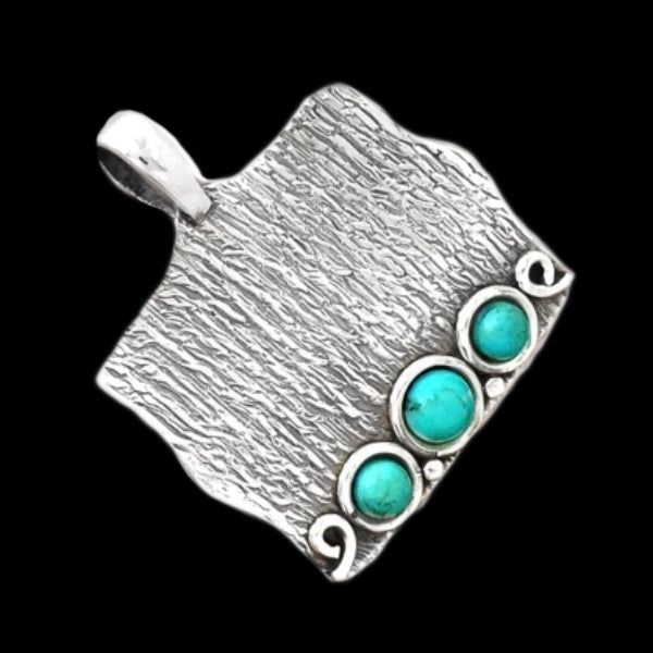 Natural Sleeping Beauty & Copper Turquoise Solid .925 Sterling Silver Pendant - BELLADONNA