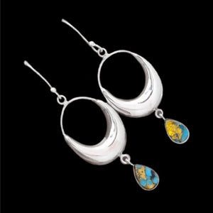 Gorgeous Hoop Natural Copper Turquoise Gemstone .925 Sterling Silver Earrings - BELLADONNA