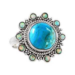 Natural Peruvian Blue Opal , Fire Opal Gemstone Solid .925 Sterling Silver Ring Size US 7 - BELLADONNA