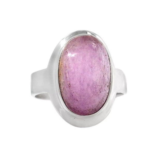 Natural Pink Oval Shape Kunzite Gemstone Solid .925 Silver Ring Size 10 - BELLADONNA