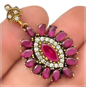 Two Tone Turkish Ruby and White Topaz Solid .925 Sterling Silver Pendant - BELLADONNA