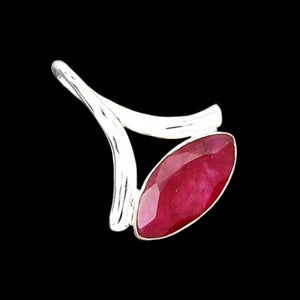 Modern Indian Cherry Red Marquise Shaped Ruby Solid .925 Sterling Silver Pendant - BELLADONNA