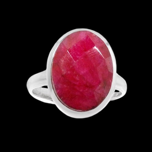 New Arrival -Faceted Oval Ruby Gemstone  .925 Solid Sterling Silver Ring Size 8 - BELLADONNA
