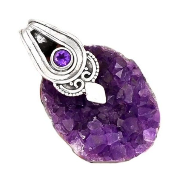 Most Beautiful Natural Purple Amethyst Druzy Heart Gemstone 925 Silver Pendant - BELLADONNA
