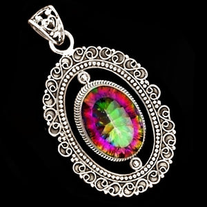 Mystic Rainbow Topaz In Solid 925 Sterling Silver Pendant - BELLADONNA