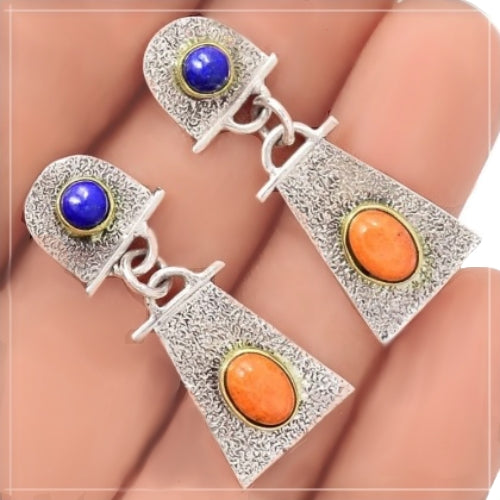 Dainty Natural Italian Coral, Lapis Lazuli Solid .925 Sterling Silver Stud Earrings - BELLADONNA