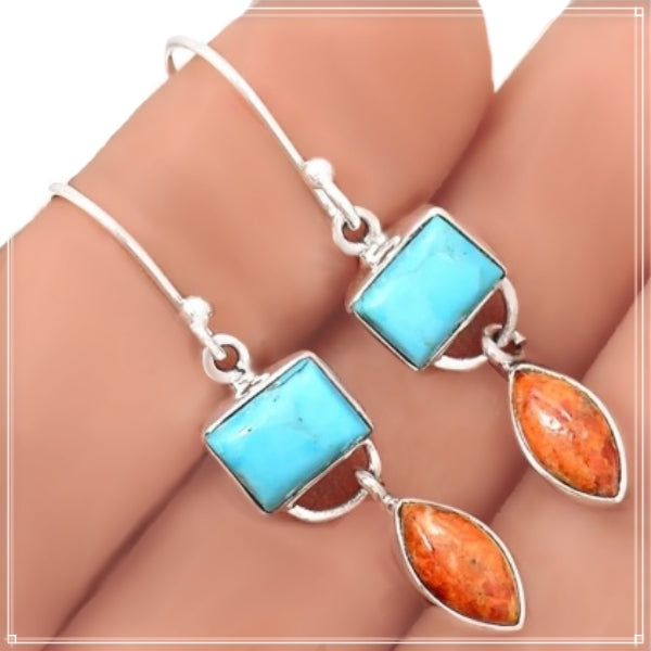 New Arrival Natural Italian Coral, Sleeping Beauty Turquoise Solid .925 Sterling Silver Earrings - BELLADONNA