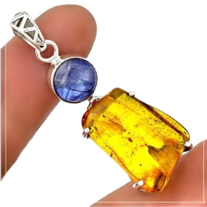 Stunning Piece Genuine Baltic Amber, Kyanite In Solid .925 Silver Pendant - BELLADONNA