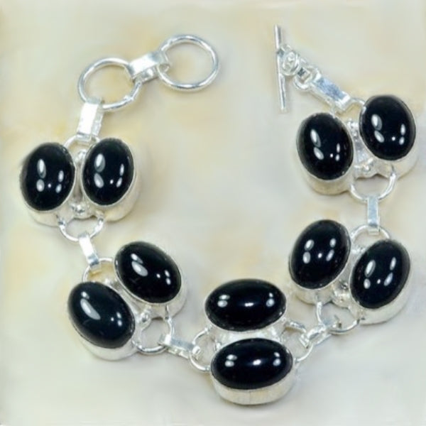 Handmade Double Row Natural Faceted Black Onyx Gemstone .925 Silver Bracelet - BELLADONNA