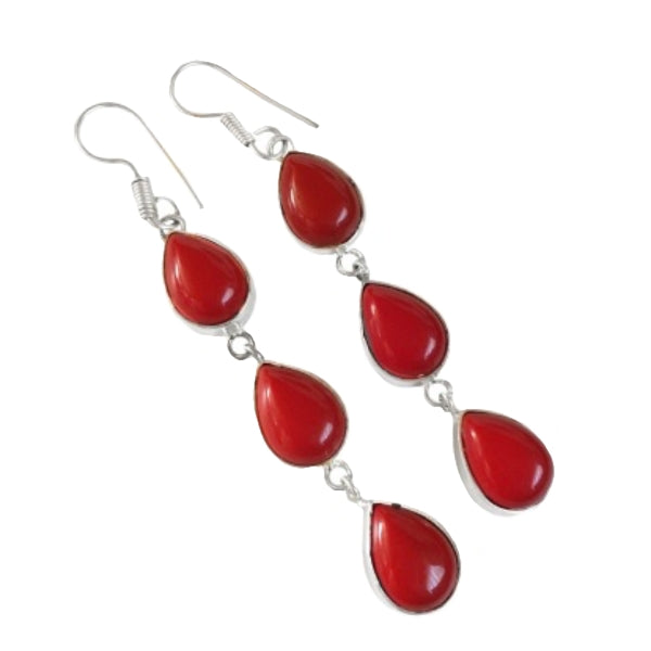 Gorgeous Long Red Coral Pear Shape Gemstone .925 Silver Earrings - BELLADONNA
