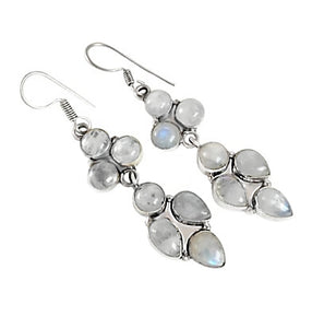 Natural Rainbow Moonstone Gemstone .925 Sterling Silver Earrings - BELLADONNA