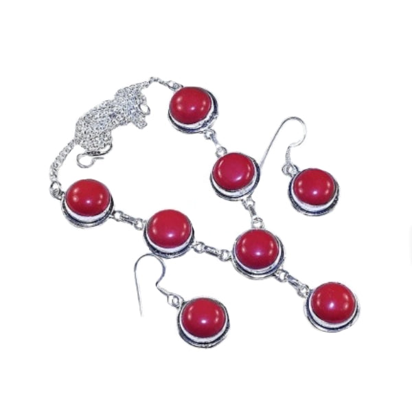 Vibrant Red Coral Gemstone .925 Silver Necklace And Earrings Set - BELLADONNA