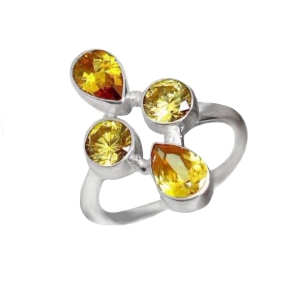 6.53 cts Natural Sunny Citrine Pears Solid .925 Silver Ring Size 8 - BELLADONNA